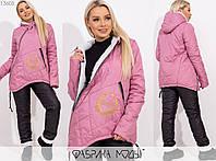 Зимний костюм женский из плащевки на синтепоне MБ/-1007 - Розовый, фото 1