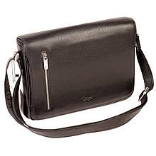 Чоловіча сумка Karya 0668-45 з плечовим ременем шкіряна чорна