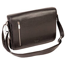 Мужская сумка Karya 0668-45 с плечевым ремнем кожаная черная