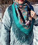 Река любви 1773-11, павлопосадский платок шерстяной (двуниточная шерсть) с шелковой вязаной бахромой, фото 4