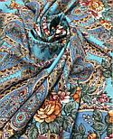 Река любви 1773-11, павлопосадский платок шерстяной (двуниточная шерсть) с шелковой вязаной бахромой, фото 5