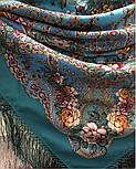 Река любви 1773-11, павлопосадский платок шерстяной (двуниточная шерсть) с шелковой вязаной бахромой, фото 6