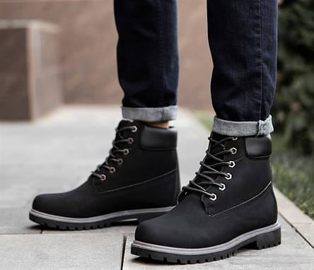 Ботинки черевики зимові чорний нубук, фото 2