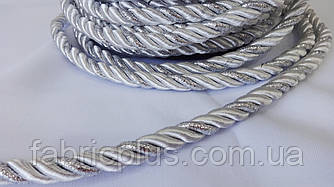 Шнур  меб. 10 мм  бел./серебро  люрекс