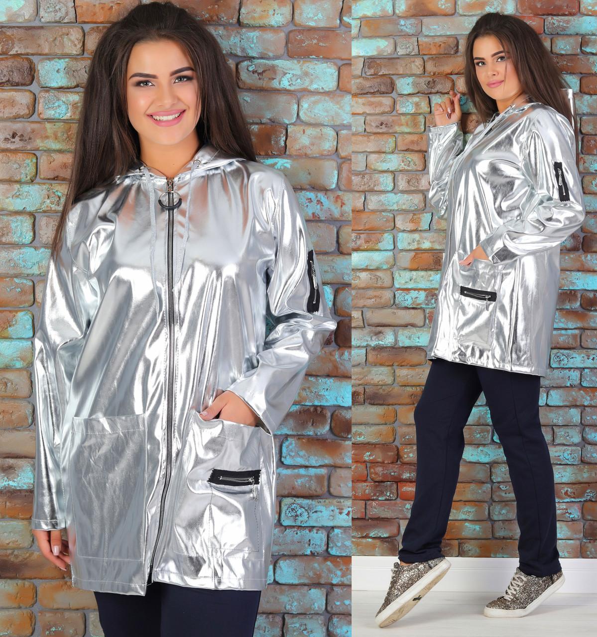 Спортивный костюм больших размеров трикотажный двухнитка (батал) демисезонный, серебро