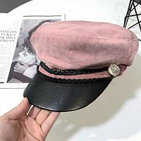 Женский картуз, кепи, фуражка вельветовый с козырьком из кожзама розовый