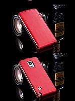 [ Чехол-флип Samsung Note 4 N910 ] Кожаный флип-чехол для смартфона Самсунг красный