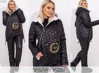 Зимовий костюм жіночий з плащової тканини на синтепоні МБ/-1007 - Чорний, фото 1