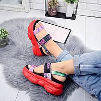 Босоножки женские в стиле Gucci красные 7912, фото 1