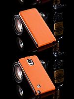 [ Чехол-флип Samsung Note 4 N910 ] Кожаный чехол-флип для телефона Самсунг оранжевый
