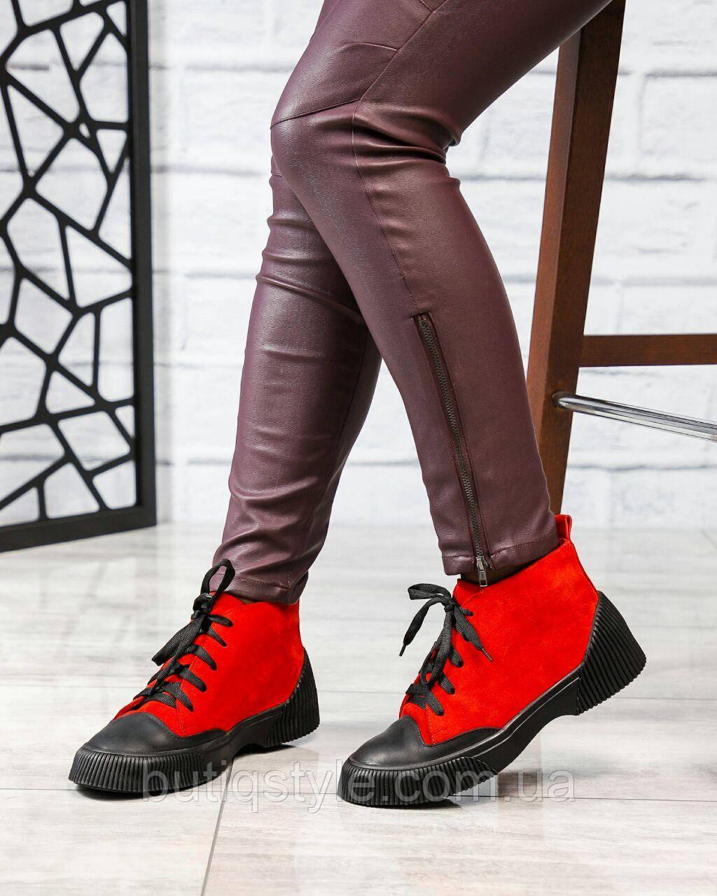 Женские красные ботинки натуральная замша на шнуровке Деми
