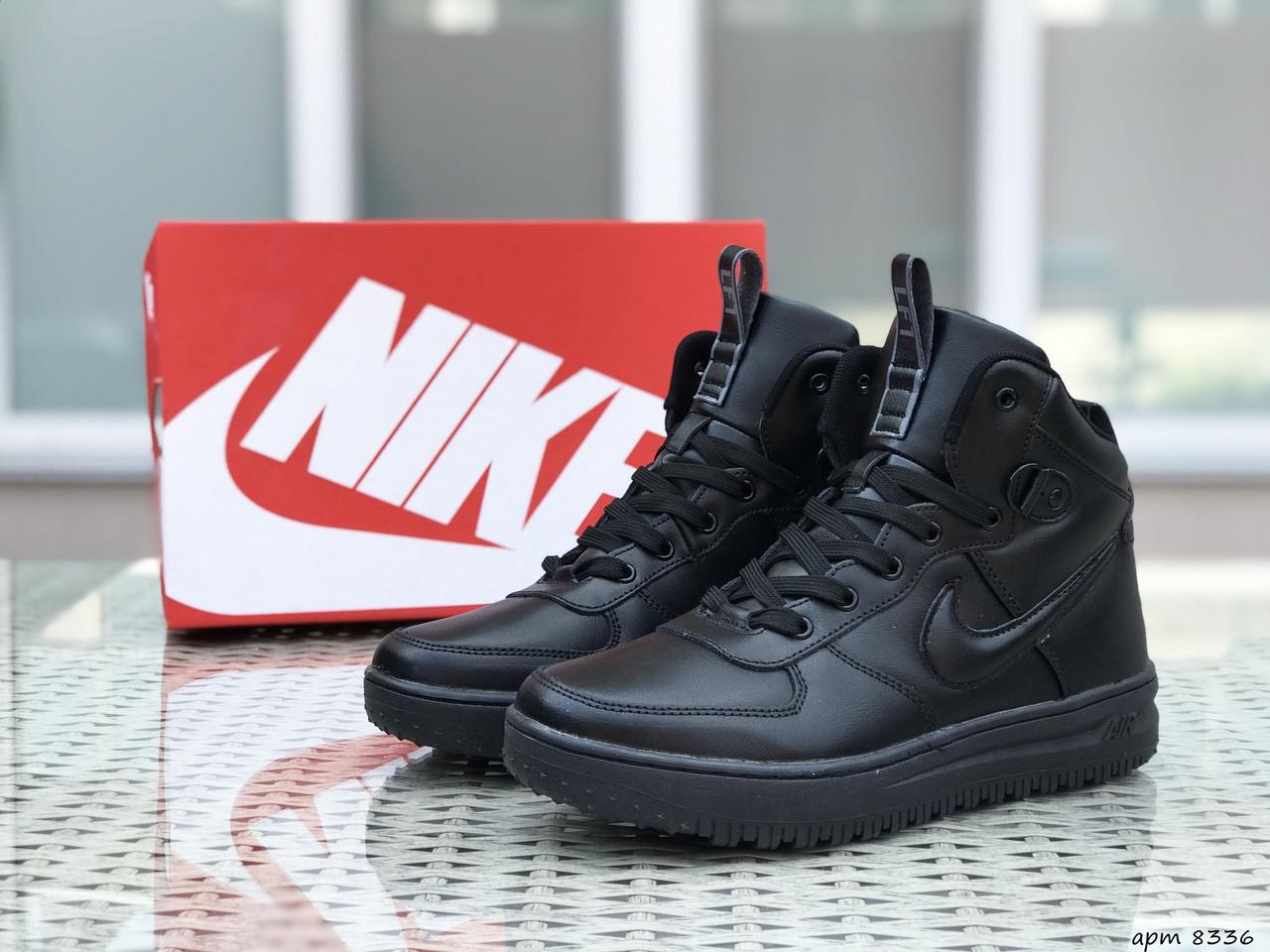Кроссовки мужские Найк Лунар Форс черные пресс кожа демисезонные (реплика) Nike Lunar Force Black