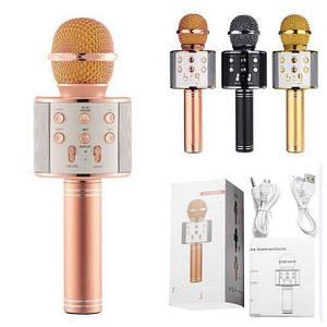 Bluetooth микрофон-караоке WS-858 с динамиком (колонкой), слотом USB и FM тюнером золотой