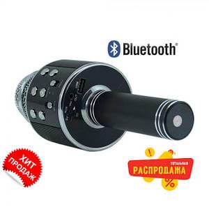 Bluetooth микрофон-караоке WS-858 с динамиком (колонкой), слотом USB и FM тюнером черный