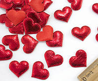 """(≈50 шт) Тканевый декор, патч """"Сердечко"""" 20х16мм с мягким наполнителем Цвет - Красный"""