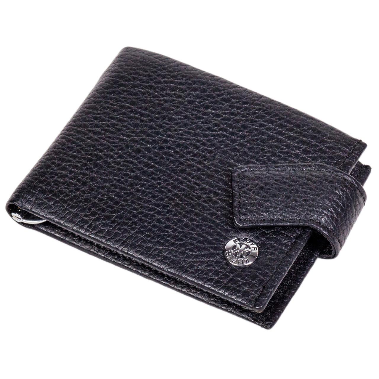 Кошелек зажим для денег кожаный черный Karya 0944-45