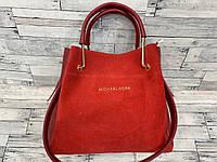 Женская замшевая сумка мини - шоппер Michael Kors (в стиле Майкл Корс) с косметичкой (красный)