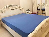 Простынь на резинке трикотаж цвет синий Турция 160х200+25 см