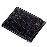 Зажим для денег кожаный черный Karya 0455-53, фото 2