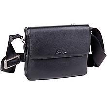 Мужская сумка Karya 0637-45 через плечо кожаная черная