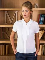 Блуза женская белая офис креп-шифон р.42,44,46,48,50