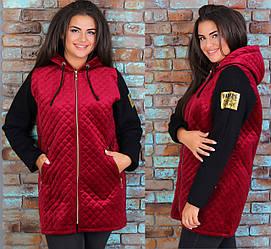 Велюровая куртка женская спортивная теплая с капюшоном больших размеров удлиненная, бордовая