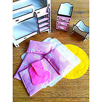 Набор текстиля для Детской в Домике для кукол Матрасики, Подушка, Покрывала, Коврик
