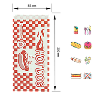 "Бумажный пакет  Уголок ""HOT DOG"" красная клетка 200х85мм (ВхШ) 40г/м² 500шт (248), фото 1"