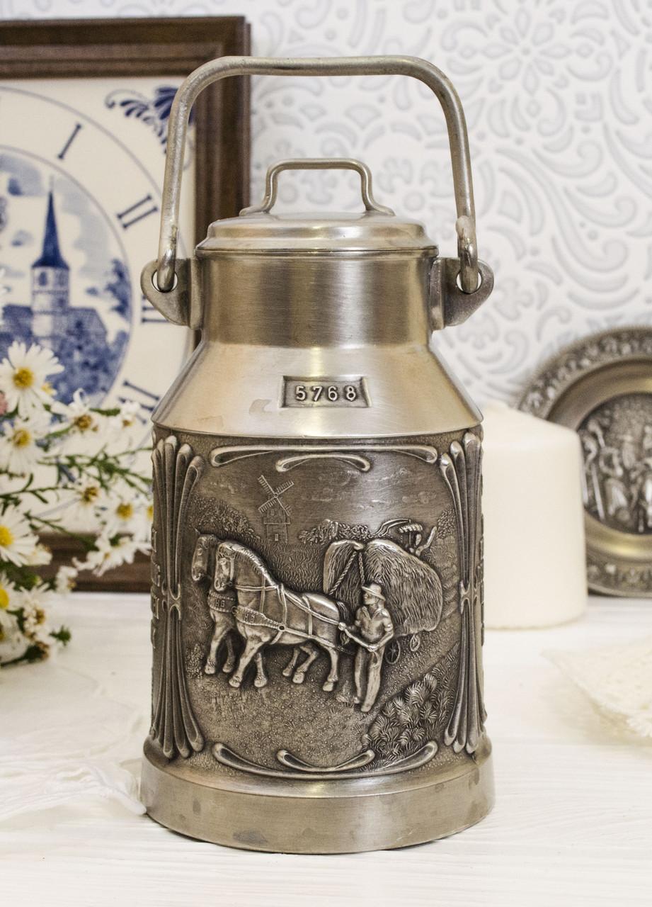 Коллекционный оловянный бидончик, пищевое олово, Германия