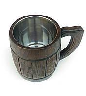 Пивной бокал тёмный из дерева 0,5л, фото 1