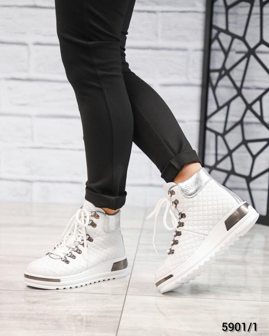 Ботинки женские стеганые белые зима