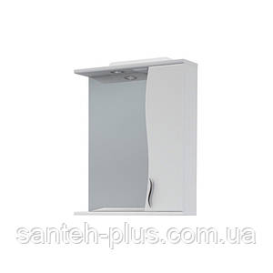 Зеркало в ванную комнату 55 см с пеналом и подсветкой З-1, левое и правое