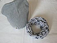 Наборчик темно-серый шапка+хомут