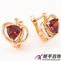 Серьги позолота «Сердце с камнем»