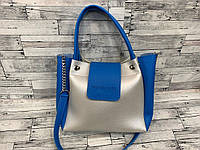 Женская сумка мини - шоппер Michael Kors (в стиле Майкл Корс)  (серебро/синий), фото 1
