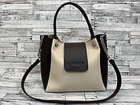 Женская сумка мини - шоппер (черный/белый), фото 1