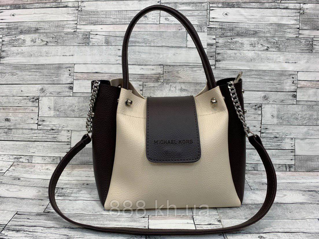 Женская сумка мини - шоппер Michael Kors (в стиле Майкл Корс) (черный/белый), фото 1