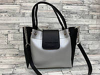 Женская сумка мини - шоппер (черный/серый), фото 1