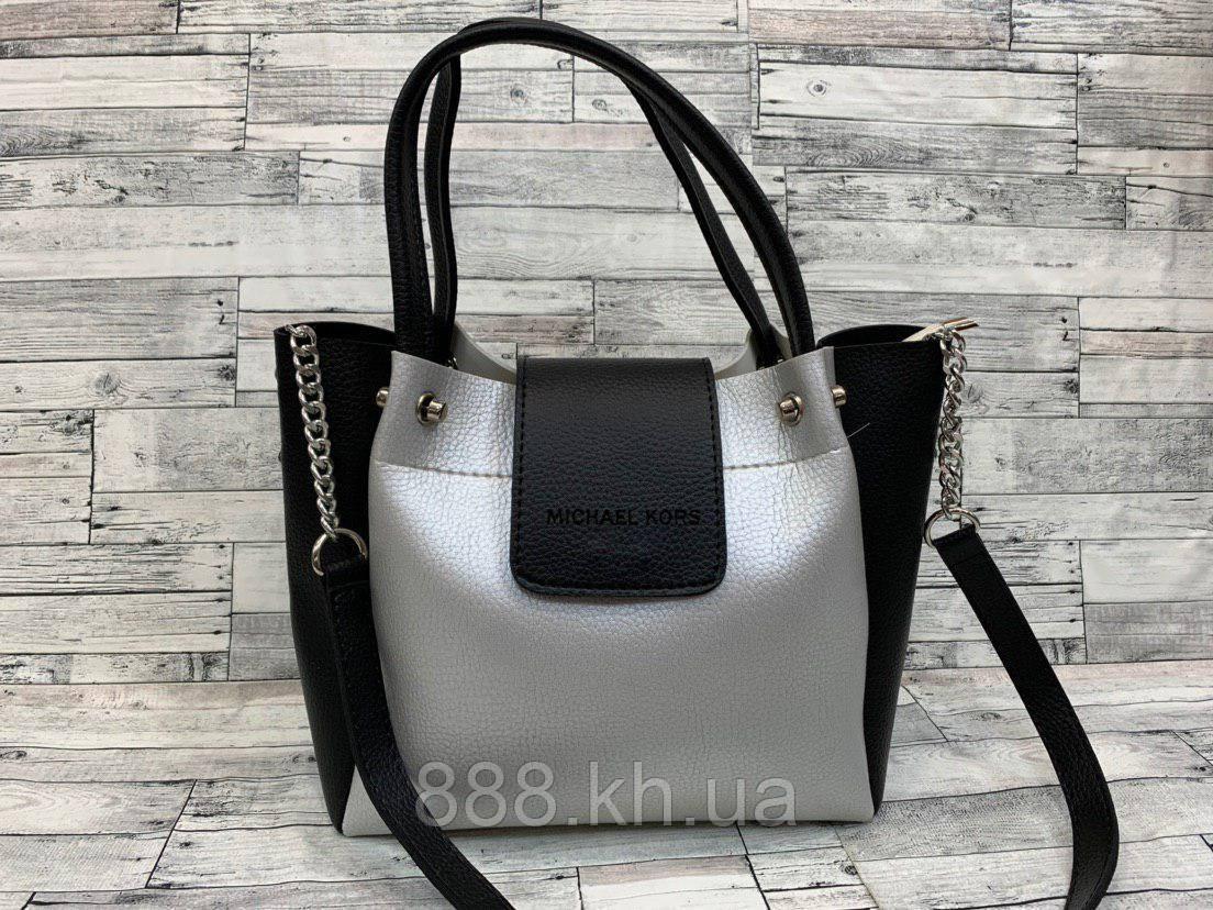 Женская сумка мини - шоппер (черный/серый)