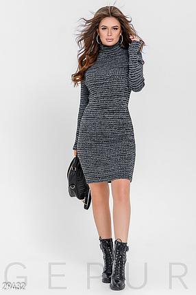 Повседневное зимнее платье до колен вязаное цвет серый меланж, фото 2