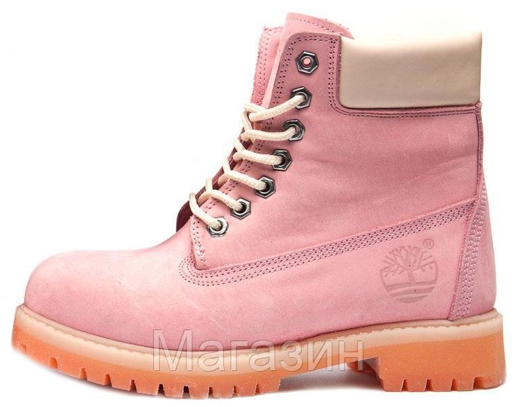 Женские зимние ботинки Timberland 6-Inch Premium Winter Pink зимние Тимберленд С НАТУРАЛЬНЫМ МЕХОМ розовые