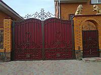 Ворота и калитка кованые с профнастилом