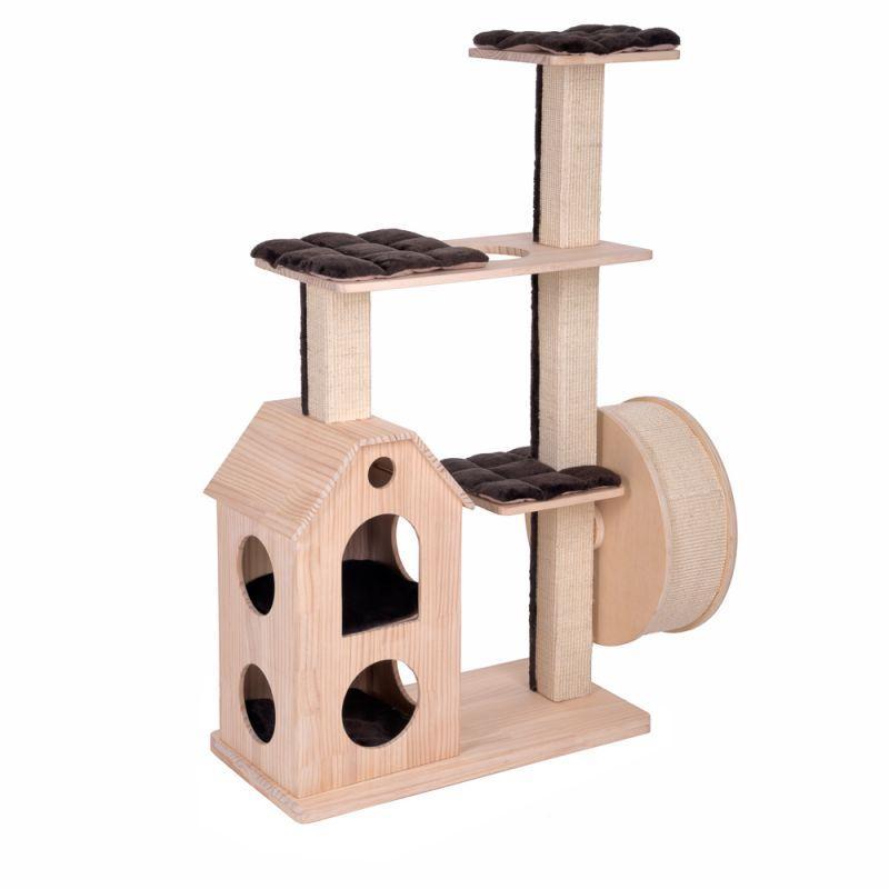 Игровой комплекс для котов Wooden castle с домиком для кошки и когтеточкой
