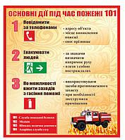 """Стенд """"Основные действия при пожаре"""""""