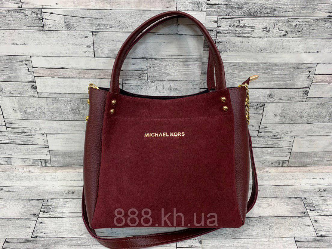 Женская замшевая сумка мини - шоппер Michael Kors (в стиле Майкл Корс) (бордо)