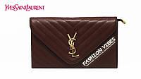 Женский клатч Yves Saint Laurent коричневый