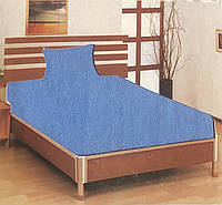 Простынь на резинке трикотажная синяя MOZ Турция 100х200+25 см