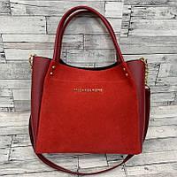 Женская замшевая сумка мини - шоппер  (красный), фото 1