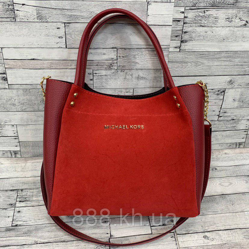 Женская замшевая сумка мини - шоппер  (красный)