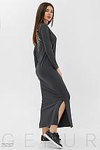Демисезонное платье макси по фигуре цвет шоколадный, фото 3